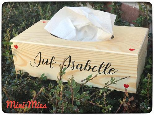Houten tissue box met naam