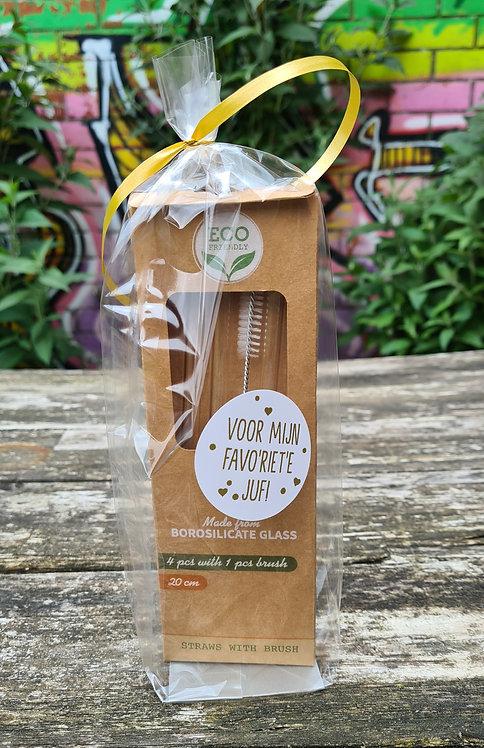 Glazen rietjes met borstel, in zakje met sticker: Voor mijn favo'RIET'e juf!