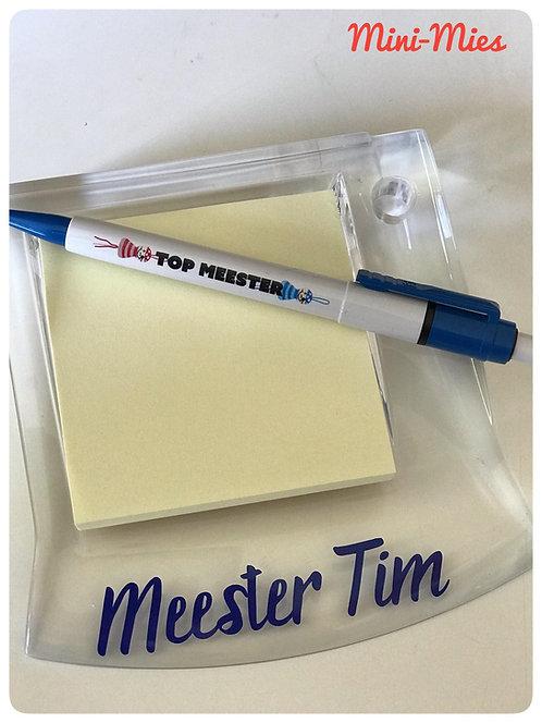 Memoblokje met blaadjes, en balpen 'Top Meester'
