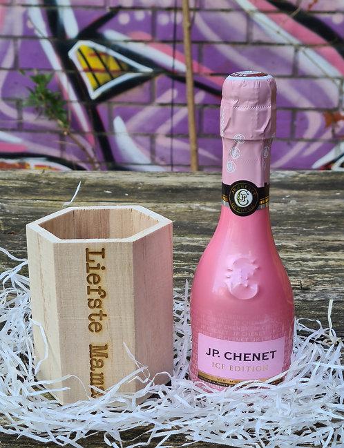 Liefste mama houten potje PLUS flesje JP Chenet