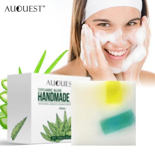 100% Organic Natural Aloe Vera  Oil Soap Moisturizing Soothing Olive Oil Base