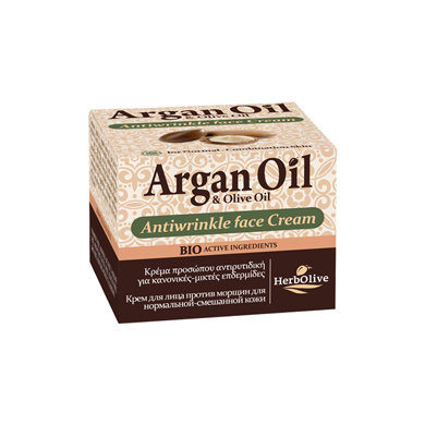 Argan oil Olive oil Antiwrinkle Cream For Normal and Combination Skin