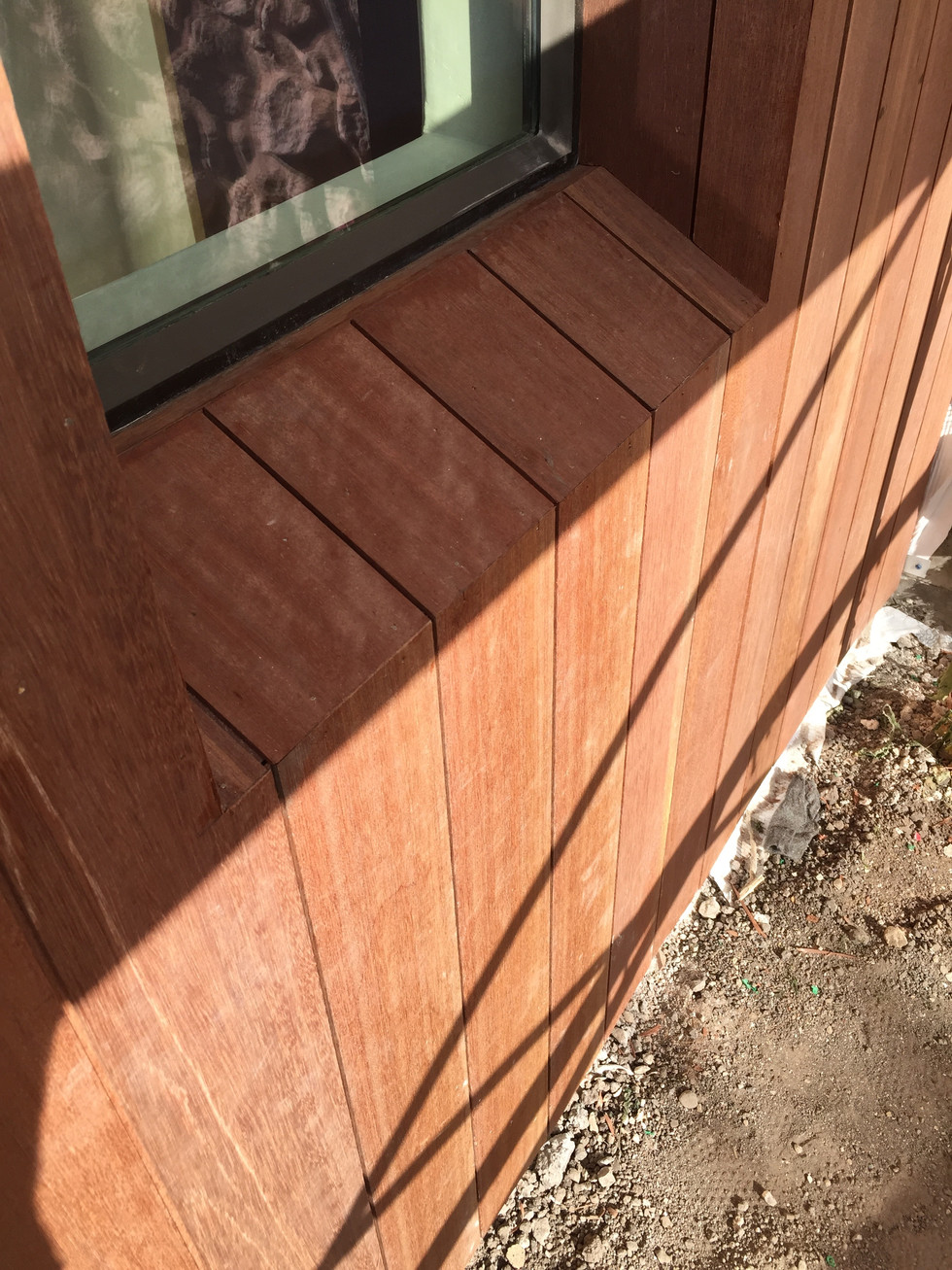 Ipe Wood Clad, sloped Window Sill -- La Ladera Residence - Santa Barbara, California