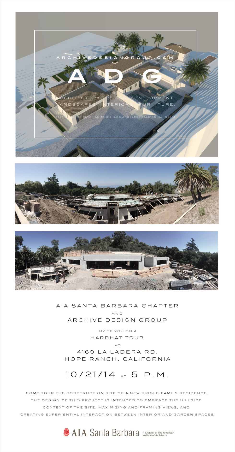 AIA Santa Barbara -- Hardhat Site Tour -- La Ladera Residence, By Archive Deisgn Group