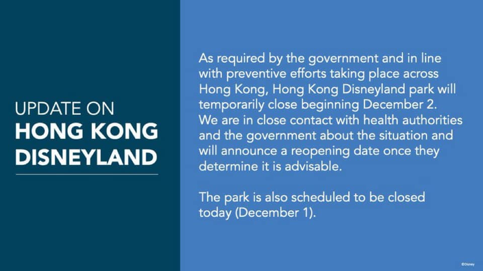 Hong Kong Disneyland Closed Immediately Due to Rising COVID-19 Cases