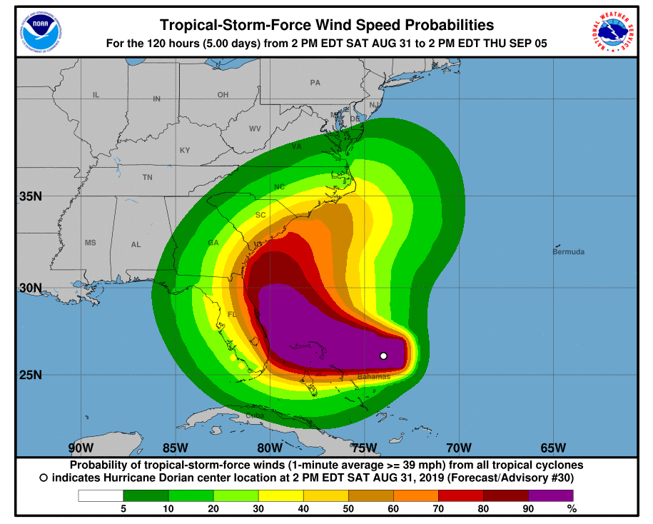 Hurricane Dorian is Forecast to Slow Down and Turn North but Florida is Still in Cone of Uncertainty