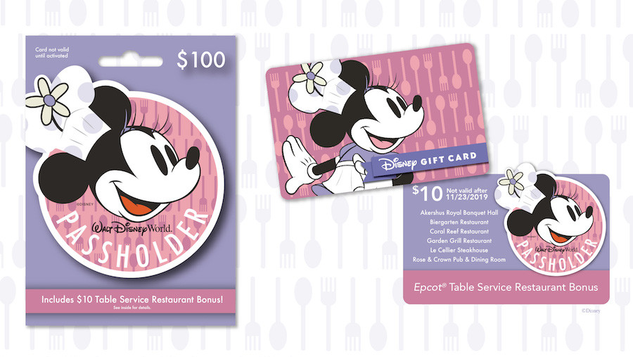 Buy a Passholder-Exclusive $100 Disney Gift Card & Receive $10 for Table-Service Dining at Epcot!