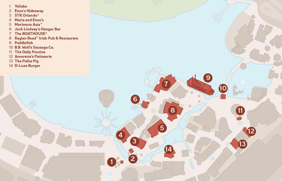 Disney Springs WonderFall Event Map