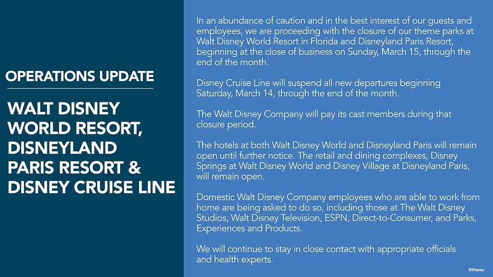 Disney Closes ALL Theme Parks and Disney Cruise Line Due to COVID-19 Coronavirus!!