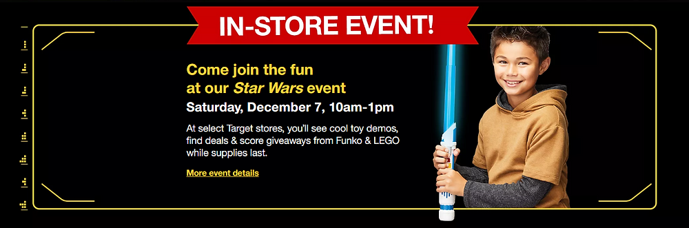 Free Star Wars Kids Event at Target This Saturday, December 7!
