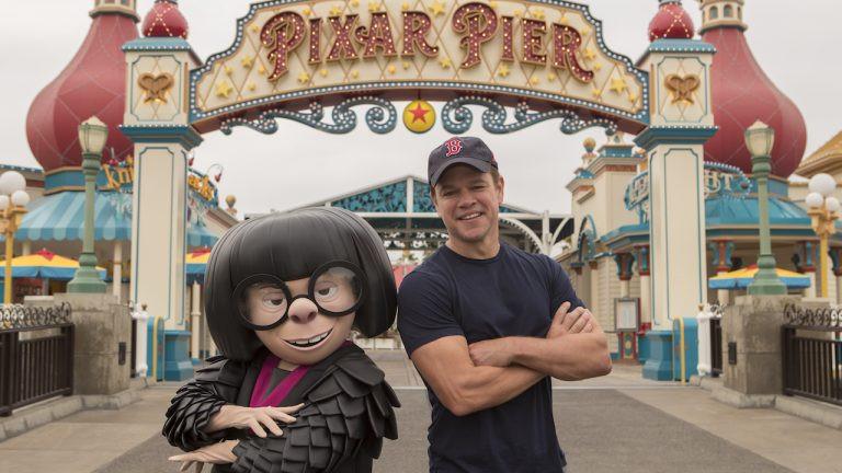 Matt Damon Meets Edna Mode on His Visit to Pixar Pier in Disney California Adventure Park