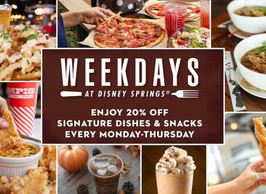 Special Dining Offers at Disney Springs - 20% Off Select Menu Items!