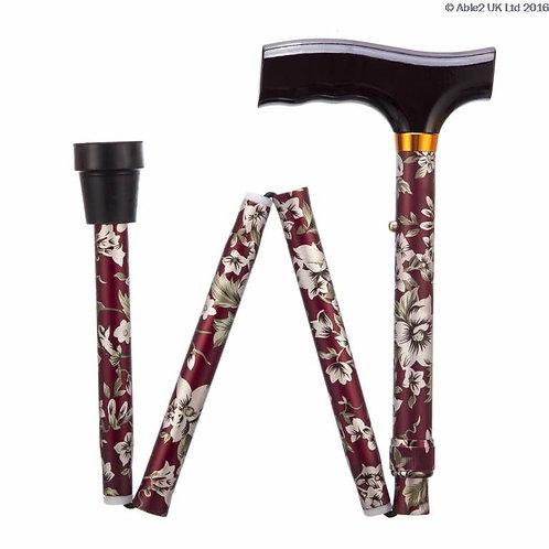 """Folding Adjustable Walking Sticks - Burgundy Flower 33-37"""" VAT EXEMPT"""