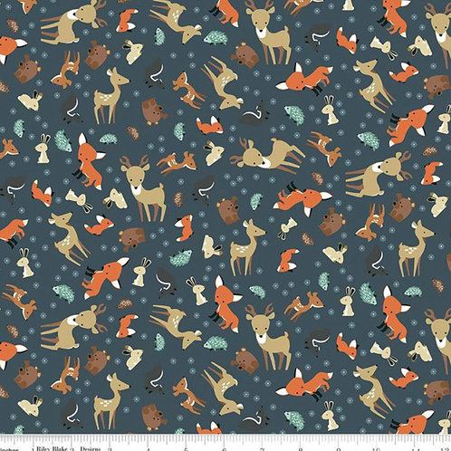 Flannel Woodland - Animal Toss Navy