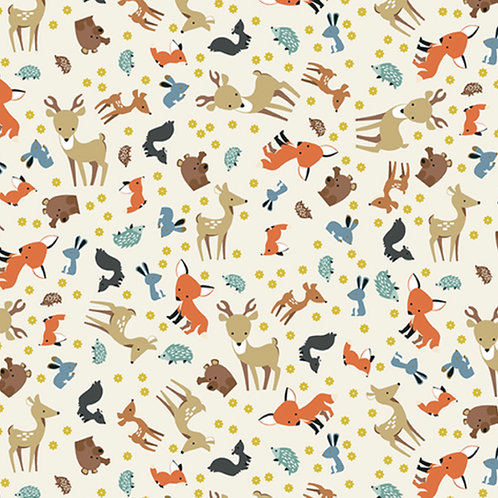 Flannel Woodland - Animal Toss Parchment