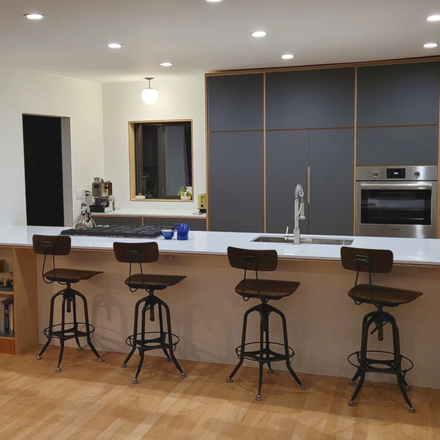 Exposed baltic birch ply integrated kitchen Salt Spring Island
