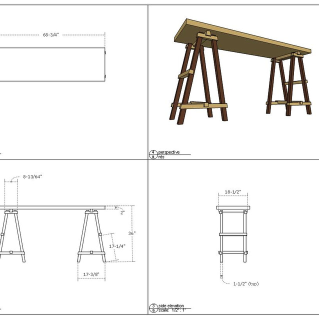 sawhorse table drawing  letter format