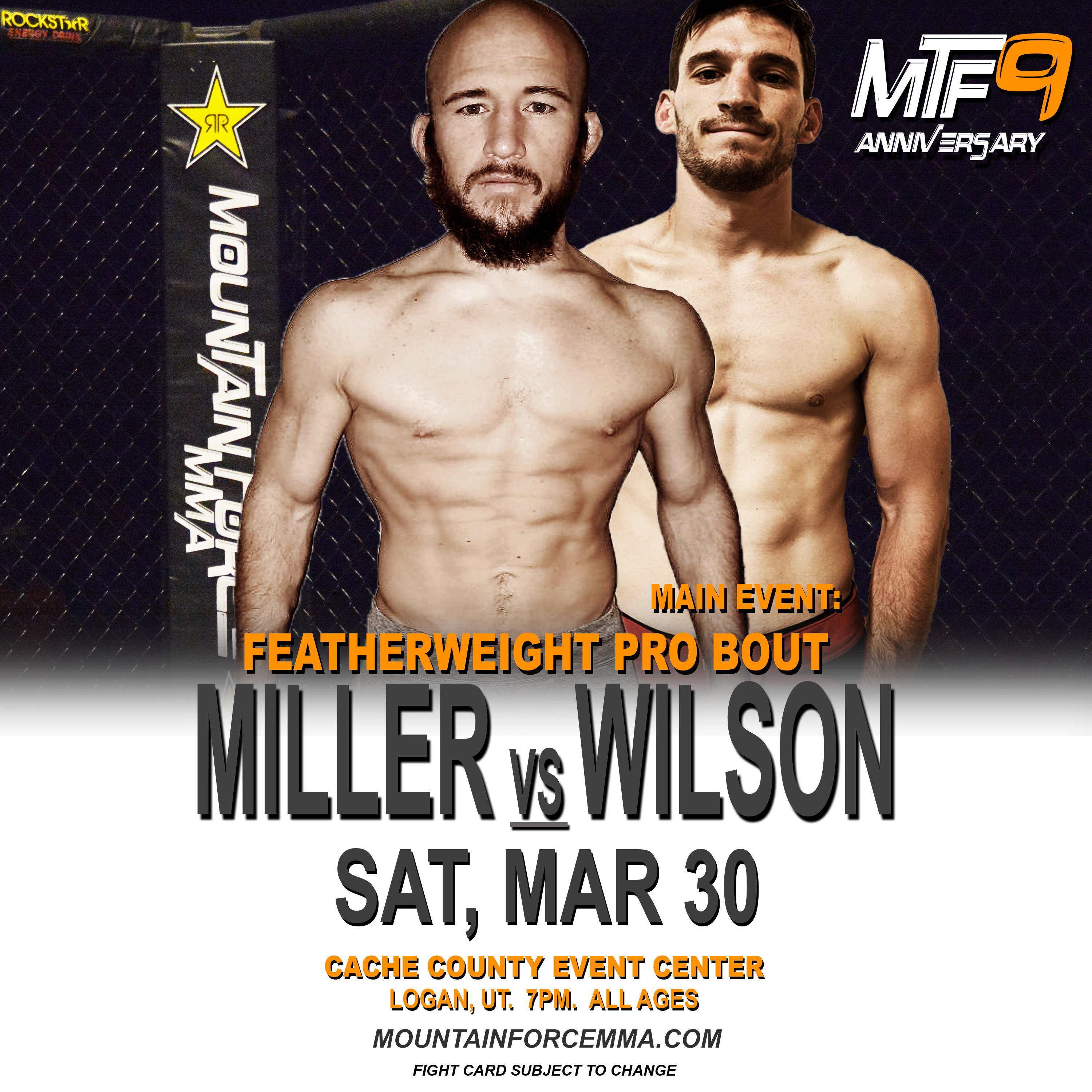 MILLER VS WILSON - FIGHT CARD MTF 9