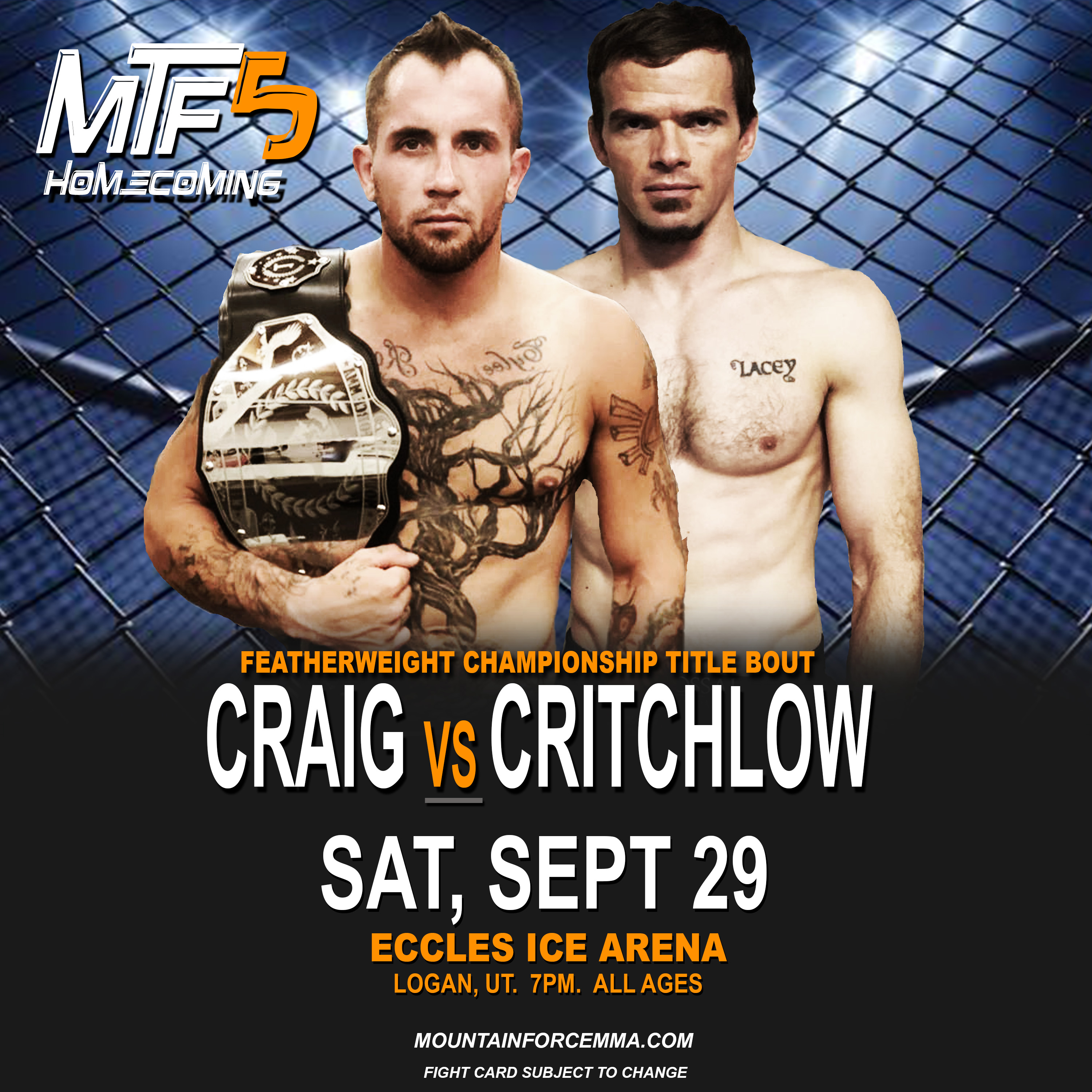 CRAIG VS CRITCHLOW - FIGHT CARD MTF 5