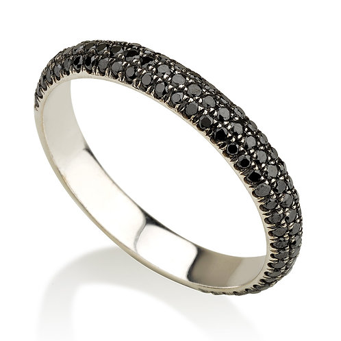 3 Row Pave -Black Diamonds טבעת