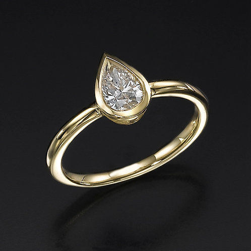 Bezel Pear Shape טבעת אירוסין