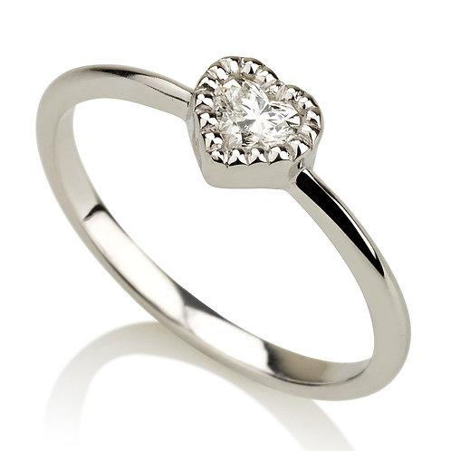 Vintage Fantasy Heart טבעת יהלום