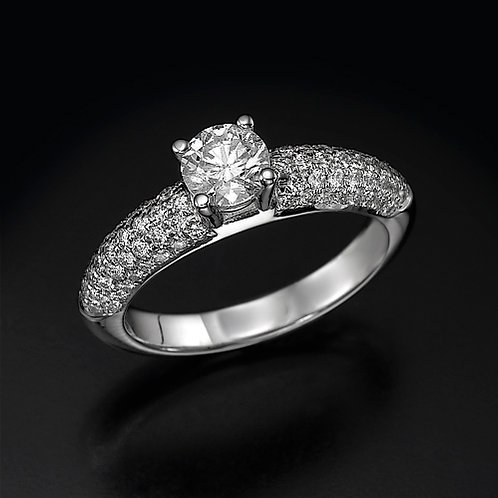 5 Row Pave טבעת אירוסין
