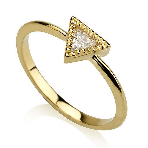Vintage Fantasy Triangle טבעת יהלום