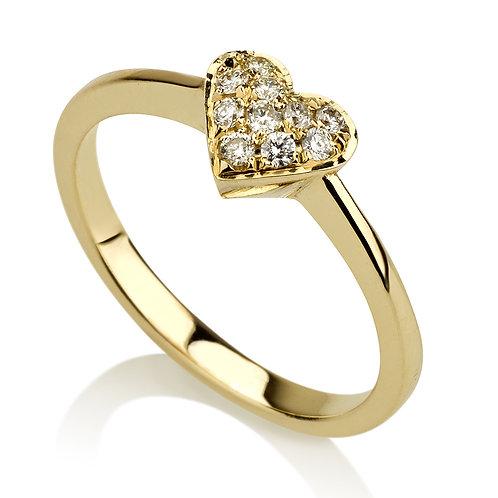 Heart Pave טבעת יהלום