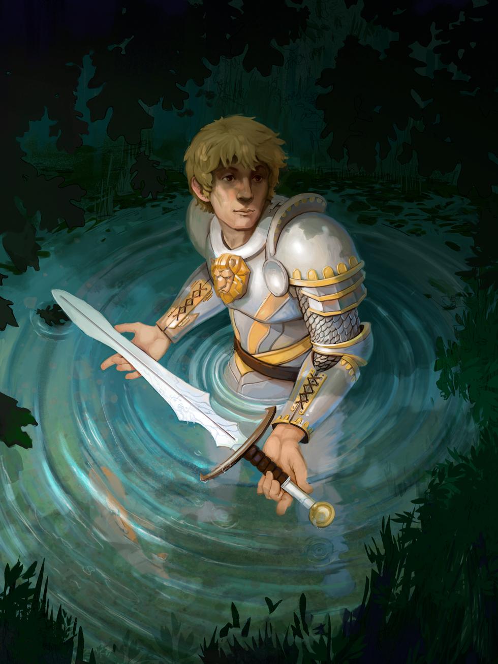 King Arthur Retreives Excalibur