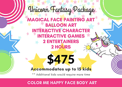 Unicorn Fantasy Face Paint Package