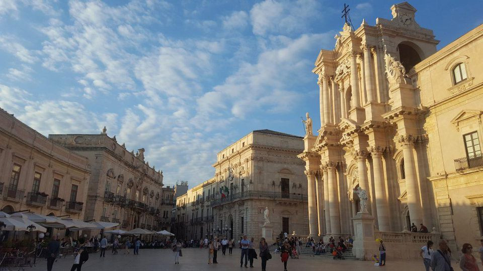 The stunning Piazza del Duomo in Ortigia, Siracusa's historic center, is the perfect spot for a sundowner or two. ALEXANDRA KIRKMAN