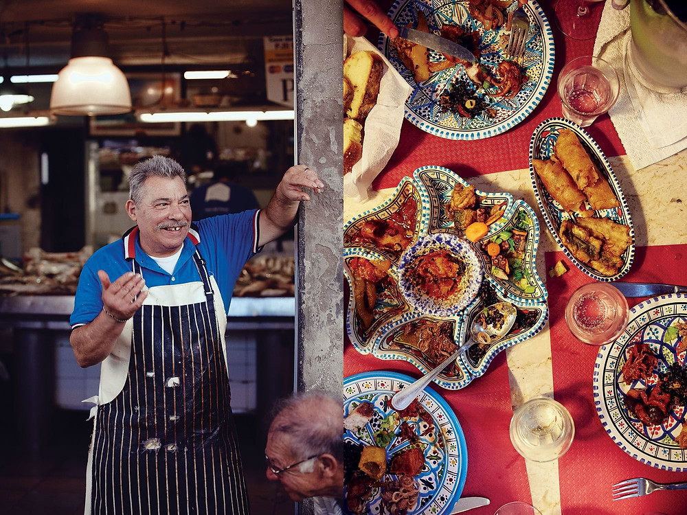 Left: A fishmonger in Ortigia. Right: The anti-pasto misto platter at Hostaria San Pietro. All photos by William Hereford.