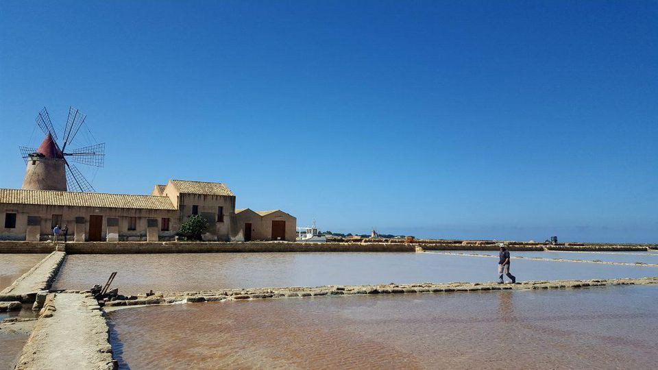 The landscape at Saline della Laguna, on Sicily's Salt Road between Trapani and Marsala, is almost otherworldly. ALEXANDRA KIRKMAN