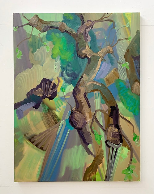 Lopped tree, new shoots, oil on canvas, 120x90cm