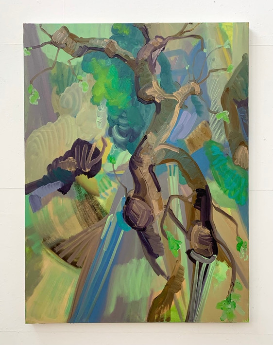 Lopped tree, new shoots Oil on canvas 90x120cm 2021
