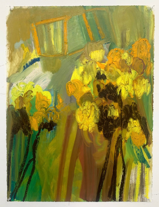 Last days of the daffodils Oil on paper  56x76cm 2021