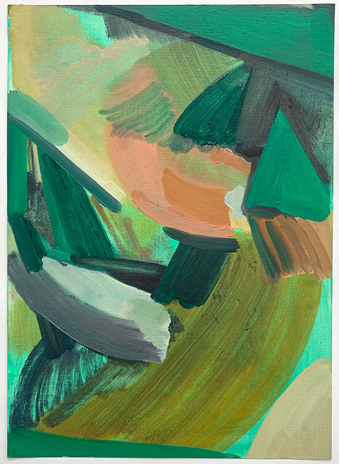 Close to the ground 1, Oil on paper, 10x14 inches