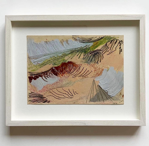 Oil pastel, crayon and carbon on card, 15x21cm, 2019, framed