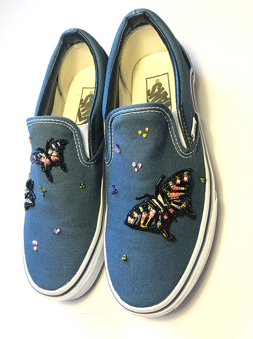 Embroidered Butterfly Vans Size Uk 5/ Eu 38