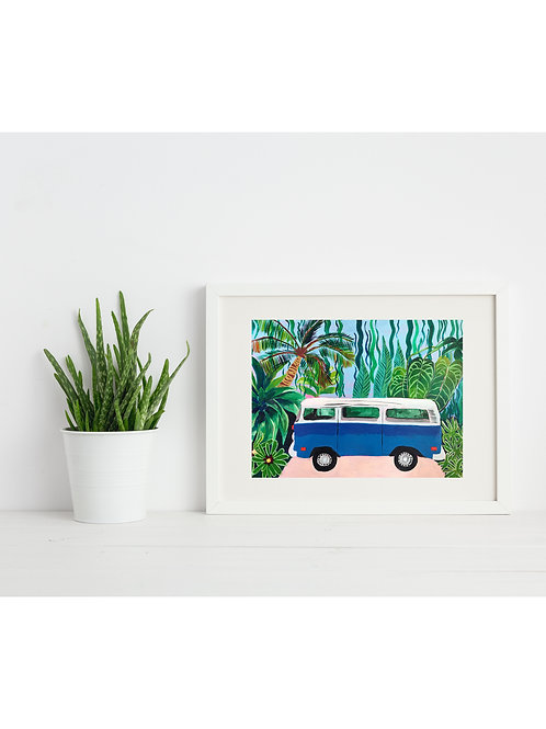 Blue Campervan Print