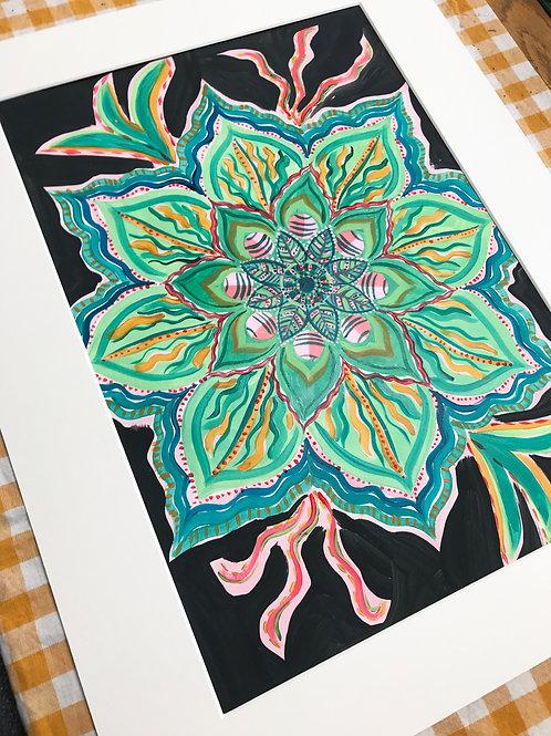 Green Mandala Print