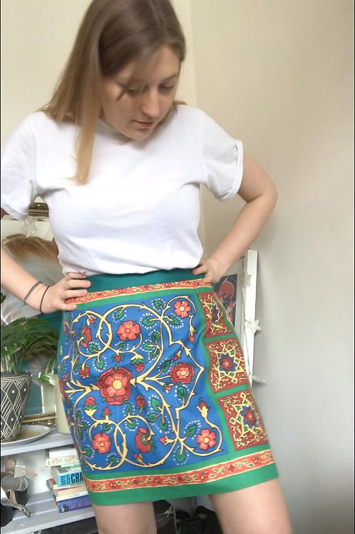 Blue Vintage Teatowel Skirt Size 14