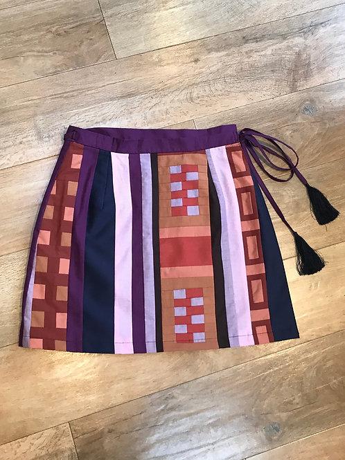 Geometric Patchwork Wrap Skirt Size 10/12
