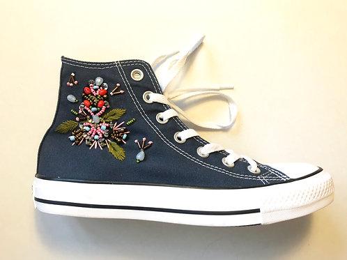 Embroidered Blue Hi Top Converse Uk 5.5/ Eu 38.5