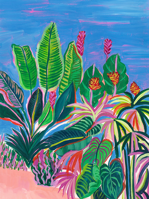 Tropical Patio Original Painting
