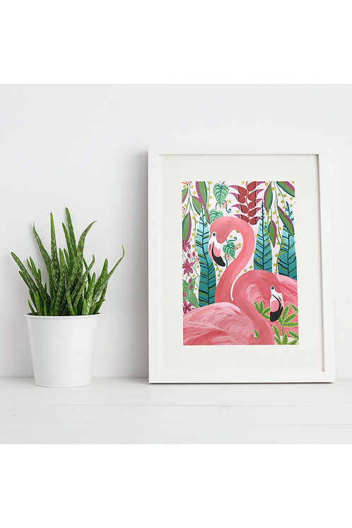 2 Flamingos Print