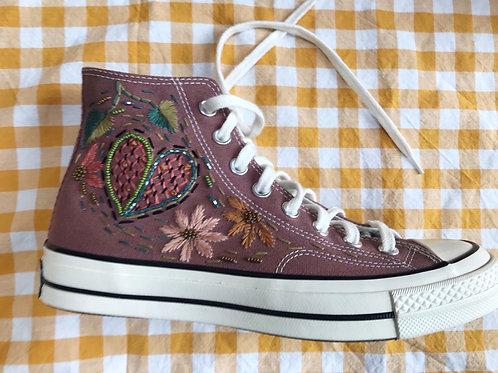 Floral Embroidered Pink Hi Top Converse Uk 6.5.5/ Eu 39.5