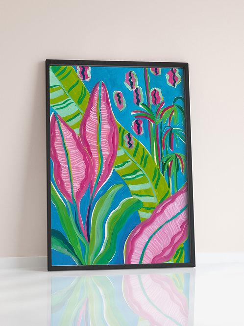 Pink Leaf Print