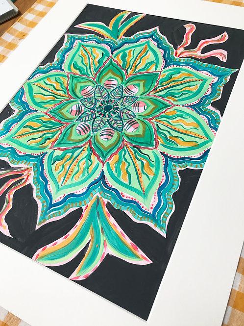 Green Mandala Original Painting